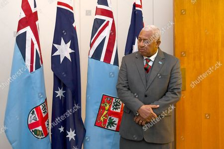 Prime Minister of Fiji Josaia Voreqe Bainimarama waits for the arrival of Australian Opposition Leader Anthony Albanese ahead of a bilateral meeting at Parliament House in Canberra, Australian Capital Territory, Australia, 16 September 2019.