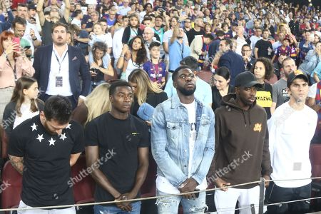 Lionel Messi of FC Barcelona, Moussa Wague, Samuel Umtiti, Ousmane Dembele and Carlos Alena of FC Barcelona on the stands during the minute of silence in memorian of the ex FC Barcelona manager Luis Enrique Martinez's daughter