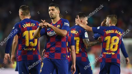 Luis Suarez of FC Barcelona dedicates a goal to ex FC Barcelona manager Luis Enrique Martine'z daughter, named Xana