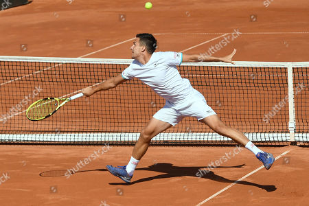 Attila Balazs of Hungary plays against Illya Marchenko of Ukraine during the decisive fifth match of the Tennis Davis Cup Group I, Europe/Africa 1st round tie Hungary vs Ukraine in Budapest, Hungary, 16 September 2019. Hungary won 3-2.