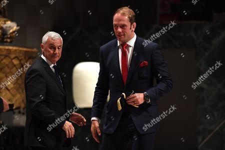 Alun Wyn Jones receives his cap from Gareth Davies.
