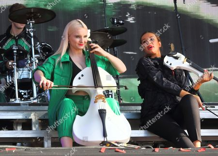 Grace Chatto and Stephanie Benedetti of British Electro Pop band Clean Bandit perform live on stage at the BBC Radio 2 Live in Hyde Park, London.