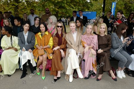 Yasmin Sewell, Lauren Santo Domingo, Candice Lake, Alice Naylor-Leyland and Sabine Getty in the front row