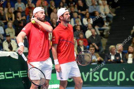 Oliver Marach and Jurgen Melzer of Austria during Tennis Davis Cup doubles match