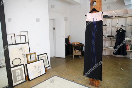 A dress designed by Herve Pierre, meant for Emmy-nominated actress Jessica Hecht to wear at the Creative Arts Emmy Awards, hangs at Atelier Caito for Herve Pierre in New York