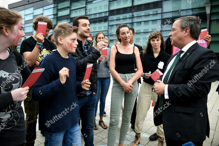Prime Minister of North Rhine-Westphalia Armin Laschet (R) talks to climate activists prior to the North Rhine-Westphalian State Prize awarding ceremony at the World Conference Center in Bonn, Germany, 16 September 2019. Professor Dr. Klaus Toepfer, the former Federal Environment Minister, long-time Executive Director of the United Nations Environment Programme and Undersecretary-General of the UN, has been awarded the State Prize, the highest distinction of the State of North Rhine-Westphalia.