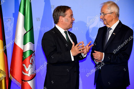 Prime Minister of North Rhine-Westphalia Armin Laschet (L) and Professor Dr. Klaus Toepfer (R) arrive for the North Rhine-Westphalian State Prize awarding ceremony at the World Conference Center in Bonn, Germany, 16 September 2019. Toepfer, the former Federal Environment Minister, long-time Executive Director of the United Nations Environment Programme and Undersecretary-General of the UN, has been awarded the State Prize, the highest distinction of the State of North Rhine-Westphalia.