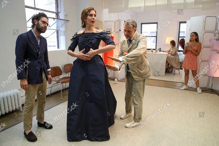 Jessica Hecht, Herve Pierre, Nicolas Caito, Stella Bernstein. Designer Herve Pierre, right, fits actress Jessica Hecht, for dresses for her to wear at the Creative Arts Emmys, at Atelier Caito for Herve Pierre in New York. At left is Nicolas Caito