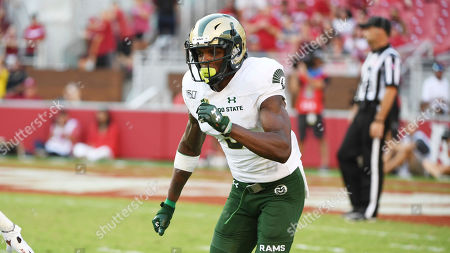 Colorado State receiver E.J. Scott runs a play against Arkansas during an NCAA football game on in Fayetteville, Ark