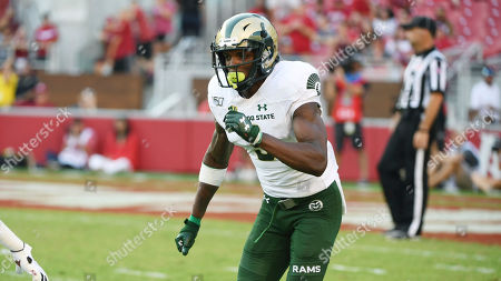Colorado State receiver E.J. Scott runs a route against Arkansas during an NCAA football game on in Fayetteville, Ark