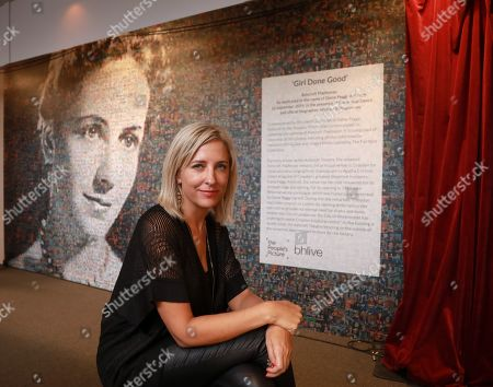 Stock Photo of Artist Helen Marshall from the People's Picture and the 6,000 photos that create the portrait of Dame Peggy Ashcroft.