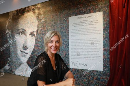 Artist Helen Marshall from the People's Picture and the 6,000 photos that create the portrait of Dame Peggy Ashcroft.