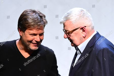 Stock Image of Green party (Die Gruenen) co-chairman Robert Habeck (L) and former German Foreign Minister Joschka Fischer of the Green party (Die Gruenen) (R) after a talk in Berlin, Germany, 16 September 2019. Former German Foreign Minister Joschka Fischer of the Green party (Die Gruenen) and Green party (Die Gruenen) co-chairman Robert Habeck met for a talk on '40 years Alliance 90/The Greens' during the Internatinal Literature Festival in Berlin.