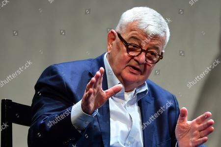 Former German Foreign Minister Joschka Fischer of the Green party (Die Gruenen) during a talk with Green party (Die Gruenen) co-chairman Robert Habeck (not in the picture) in Berlin, Germany, 16 September 2019. Former German Foreign Minister Joschka Fischer of the Green party (Die Gruenen) and Green party (Die Gruenen) co-chairman Robert Habeck met for a talk on '40 years Alliance 90/The Greens' during the Internatinal Literature Festival in Berlin.