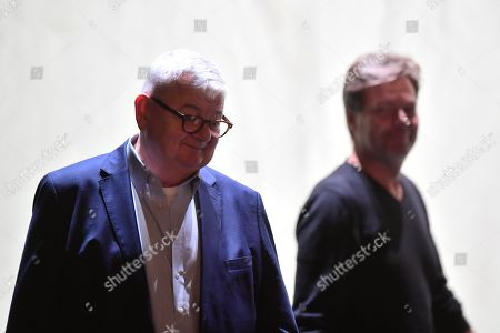 Former German Foreign Minister Joschka Fischer (L) of the Green party (Die Gruenen) and Green party (Die Gruenen) co-chairman Robert Habeck (R) arrive for a talk in Berlin, Germany, 16 September 2019. Former German Foreign Minister Joschka Fischer of the Green party (Die Gruenen) and Green party (Die Gruenen) co-chairman Robert Habeck met for a talk on '40 years Alliance 90/The Greens' during the Internatinal Literature Festival in Berlin.