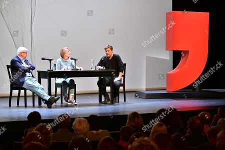 Former German Foreign Minister Joschka Fischer (L) of the Green party (Die Gruenen) and Green party (Die Gruenen) co-chairman Robert Habeck (R) next to host Anke Plaettner (C) during a talk in Berlin, Germany, 16 September 2019.Former German Foreign Minister Joschka Fischer of the Green party (Die Gruenen) and Green party (Die Gruenen) co-chairman Robert Habeck met for a talk on '40 years Alliance 90/The Greens' during the Internatinal Literature Festival in Berlin.