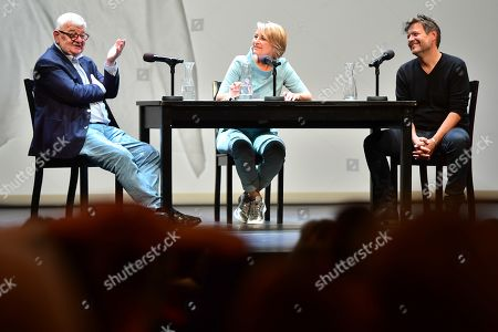 Former German Foreign Minister Joschka Fischer (L) of the Green party (Die Gruenen) and Green party (Die Gruenen) co-chairman Robert Habeck (R) next to host Anke Plaettner (C) during a talk in Berlin, Germany, 16 September 2019. Former German Foreign Minister Joschka Fischer of the Green party (Die Gruenen) and Green party (Die Gruenen) co-chairman Robert Habeck met for a talk on '40 years Alliance 90/The Greens' during the Internatinal Literature Festival in Berlin.