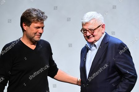 Former German Foreign Minister Joschka Fischer (R) of the Green party (Die Gruenen) and Green party (Die Gruenen) co-chairman Robert Habeck (L) after a talk in Berlin, Germany, 16 September 2019. Former German Foreign Minister Joschka Fischer of the Green party (Die Gruenen) and Green party (Die Gruenen) co-chairman Robert Habeck met for a talk on '40 years Alliance 90/The Greens' during the Internatinal Literature Festival in Berlin.