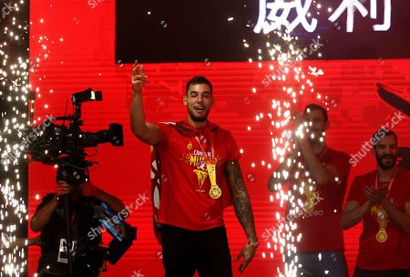 Spain's national basketball team center Willy Hernangomez during the celebration after winning the FIBA basketball World Cup at Colon Square in Madrid, Spain, 16 September 2019. Spain won the FIBA Basketball World Cup final against Argentina in Beijing, China on 15 September 2019.