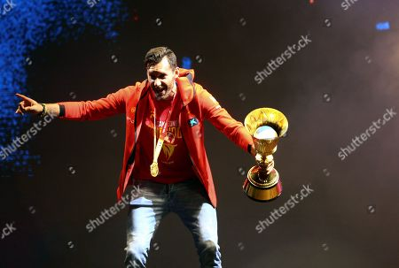 Spain's national basketball team captain Rudy Fernandez during the celebration after winning the FIBA basketball World Cup at Colon Square in Madrid, Spain, 16 September 2019. Spain won the FIBA Basketball World Cup final against Argentina in Beijing, China on 15 September 2019.