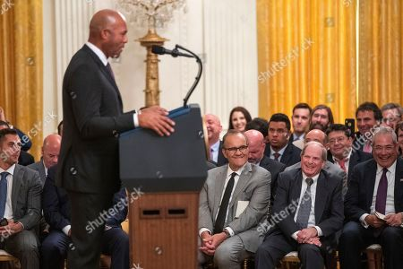 Mariano Rivera, Joe Torre. Former Yankees manager Joe Torre, seated back center, listens to former New York Yankees baseball pitcher Mariano Rivera speaks during ceremony presenting the Presidential Medal of Freedom to Rivera, in the East Room of the White House, in Washington