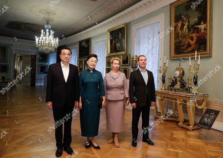Chinese Premier Li Keqiang (L) and his wife Cheng Hong (2-L), Russian Prime Minister Dmitry Medvedev (R) and his wife Svetlana Medvedeva (2-R) pose for a picture as they visit the Pavlovsk State Museum in St. Petersburg, Russia, 16 September 2019. Chinese Premier Li Keqiang is on a working visit to Russia.