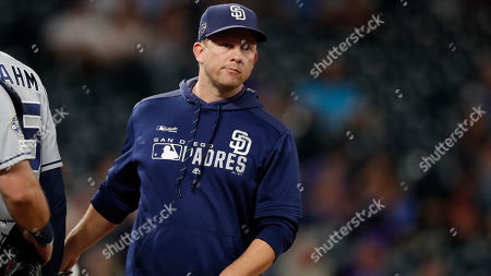 San Diego Padres manager Andy Green (14) in the eighth inning of a baseball game, in Denver