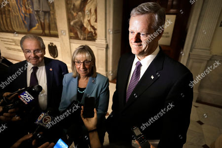 Rob Gronkowski. Massachusetts Charlie Baker, right, takes questions from members of the media, at the Statehouse, in Boston, following a weekly meeting with Mass. Speaker of the House Robert DeLeo, left, and Mass. Senate President Karen Spilka, center