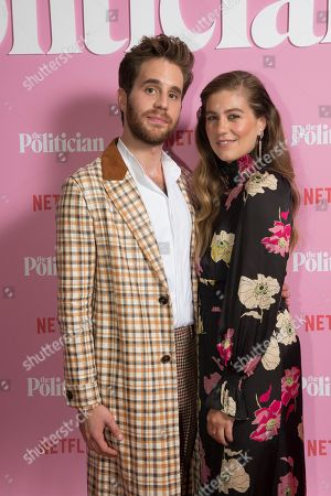 Ben Platt, Laura Dreyfuss. Ben Platt and Laura Dreyfuss pose for photographers upon arrival at the UK premiere for The Politician, at a central London cinema