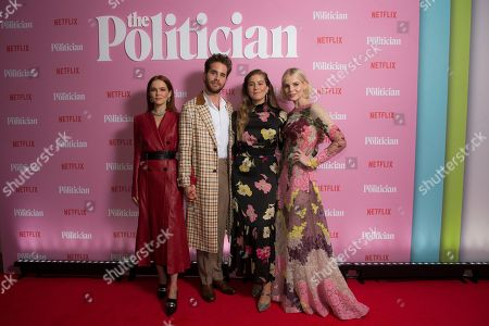Zoey Deutch, Ben Platt, Laura Dreyfuss, Lucy Boynton. Actors Zoey Deutch, from left, Ben Platt, Laura Dreyfuss and Lucy Boynton pose for photographers upon arrival at the UK premiere for The Politician, at a central London cinema