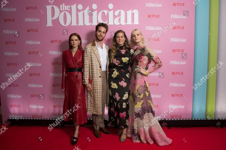 Zoey Deutch, Ben Platt, Laura Dreyfuss, Lucy Boynton. Actors from left to right, Zoey Deutch, Ben Platt, Laura Dreyfuss and Lucy Boynton pose for photographers upon arrival at the UK premiere for The Politician, at a central London cinema