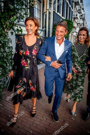 Princess Marilene, Prince Maurits and Princess Aimee arrive at a special performance of the NatuurCollege in Theater Carre.