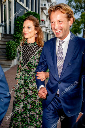 Prince Floris and Princess Aimee arrives at a special performance of the NatuurCollege in Theater Carre.