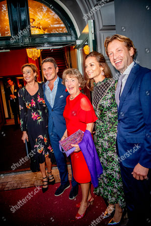 Princess Margriet Princess Marilene and Prince Maurits and Prince Floris and Princess Aimee arrives at a special performance of the NatuurCollege in Theater Carre.