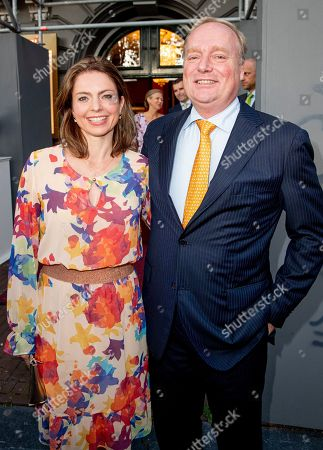 Stock Photo of Prince Carlos of Bourbon-Parma and Annemarie Cecilia Gualtherie van Weezel arrive at a special performance of the NatuurCollege in Theater Carre.