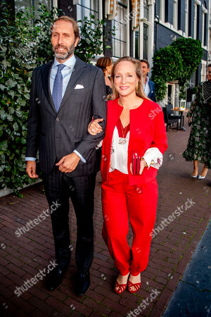 Stock Photo of Princess Margarita and Tjalling ten Cate arrive at a special performance of the NatuurCollege in Theater Carre.