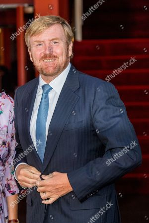 Stock Photo of King Willem-Alexander arrives at Together - An Ode to Nature a special performance of the NatuurCollege in Theater Carre