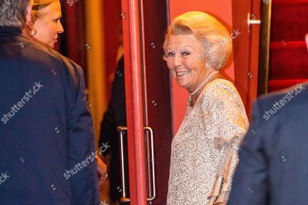 Princess Beatrix arrives at Together - An Ode to Nature a special performance of the NatuurCollege in Theater Carre