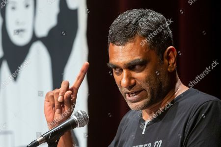 Stock Picture of Amnesty International Secretary General Kumi Naidoo speaks during a program to award Swedish climate activist Greta Thunberg with Amnesty International's Ambassador of Conscience award at George Washington University in Washington, DC, USA, 16 September 2019. Thunberg is scheduled to attend the United Nations Climate Action Summit in New York City.