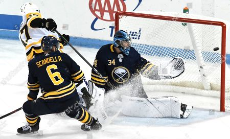 Stock Picture of Buffalo Sabres goaltender Jonas Johansson (34) and Marco Scandella (6) watch a shot by Pttsbugh Penguins' Adam Johnson go into the net during the third period of an NHL preseason hockey game, Monday, Sept.16, 2019, in State College, Pa