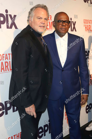 """Stock Image of Vincent D'Onofrio, Forest Whitaker. Vincent D'Onofrio, left, and Forest Whitaker attend a special screening of """"Godfather of Harlem,"""" at the Apollo Theater, in New York"""