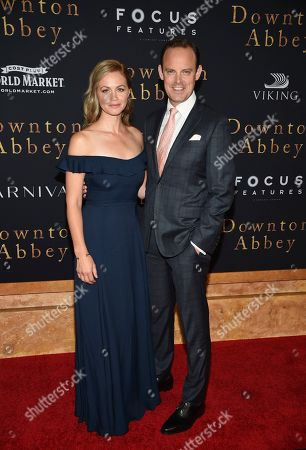 "Rebecca Night, Harry Hadden-Paton. Actor Harry Hadden-Paton, right, and wife Rebecca Night attend the premiere of ""Downton Abbey,"" at Alice Tully Hall, in New York"