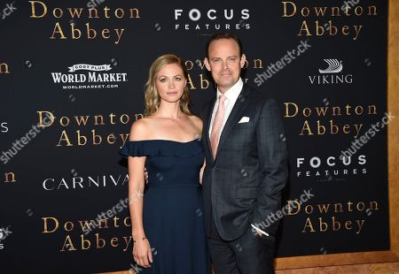 "Stock Image of Rebecca Night, Harry Hadden-Paton. Actor Harry Hadden-Paton, right, and wife Rebecca Night attend the premiere of ""Downton Abbey,"" at Alice Tully Hall, in New York"