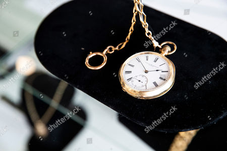 A gold pocket watch offered by Irish rock band U2 and reading 'Love U2' and 'BB King' is displayed at the Julien's Auctions house in Beverly Hills, California, USA, 16 September 2019. An auction of the late blues musician's guitars and personal items will take place on 21 September.