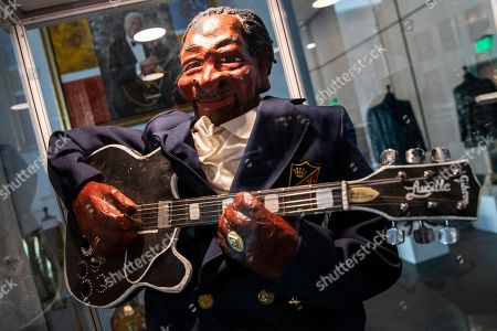 A handpainted papier-mache puppet named 'Little BB' and created by Ken Van Etten, is displayed at the Julien's Auctions house in Beverly Hills, California, USA, 16 September 2019. An auction of the late blues musician's guitars and personal items will take place on 21 September.