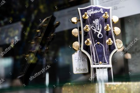 BB King's Gibson USA Legend Award is displayed at the Julien's Auctions house in Beverly Hills, California, USA, 16 September 2019. An auction of the late blues musician's guitars and personal items will take place on 21 September.