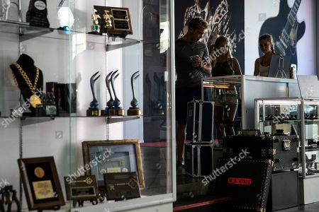 Visitors look at BB King's various objects and instruments on display at the Julien's Auctions house in Beverly Hills, California, USA, 16 September 2019. An auction of the late blues musician's guitars and personal items will take place on 21 September.