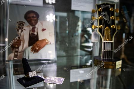 BB King's Gibson USA Legend Award and his 18 karat gold and diamond 'BB' ring are displayed at the Julien's Auctions house in Beverly Hills, California, USA, 16 September 2019. An auction of the late blues musician's guitars and personal items will take place on 21 September.