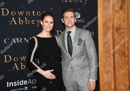 """Jessica Blair Herman, Allen Leech. Actor Allen Leech, right, and wife Jessica Blair Herman attend the premiere of """"Downton Abbey"""" at Alice Tully Hall, in New York"""