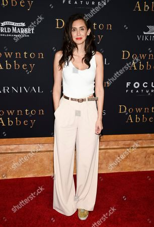 """Stock Image of Mozhan Marno attends the premiere of """"Downton Abbey"""" at Alice Tully Hall, in New York"""